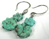 Turquoise Blossom, Sterling Silver Earrings