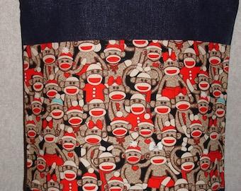 New Medium Handmade Sock Monkey Denim Tote Bag