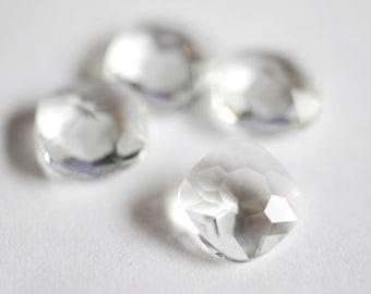 Unfoiled 12mm Cushion Cut Glass Jewels - Crystal Clear - 6pcs