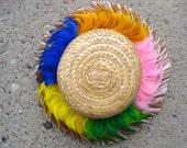 Vintage 1960s Straw Hat Marabou Feather Trim 2013410