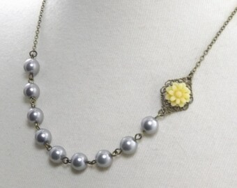 Gray and Yellow  Wedding Flower Necklace