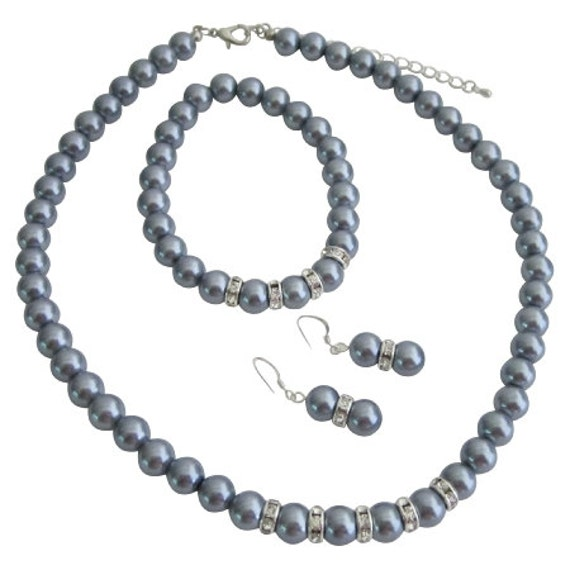 Bridesmaide Pearls Jewelry Set Grey Pearls Necklace Sterling Silver Earring Stretchable Bracelet Free Shipping In USA