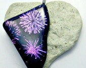 Dichroic Magenta Blue Fireworks - Black Fused Glass Pendant