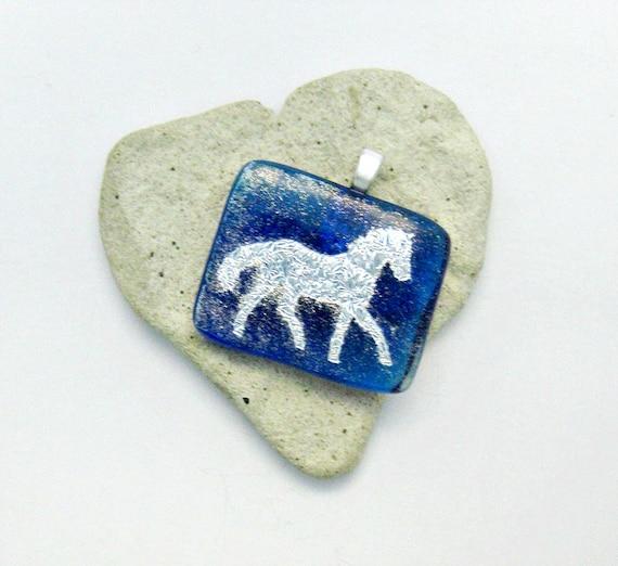 Silver Dichroic Horse Pendant - Fused Dichroic Glass Pendant
