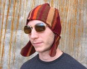 Spicy Merlot  Curly Flap Fez Men ear flap hat wool felt hat wine red hat Stripe camel pumpkin upcycled sweater mens beanie festival clothing