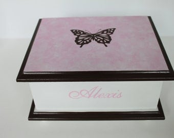 Baby keepsake box Butterfly Memory Box personalized baby girl gift hand painted
