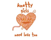 Knotty Girls Need Love (crocheting knotty girls) archival print of original illustration by Anna Tillett Designs