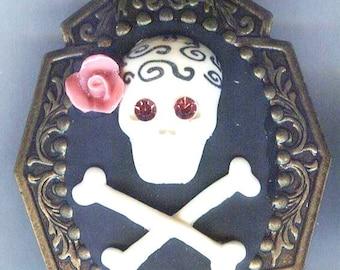 "SALE Whimsical Skull/Crossbone with Rose Pink Rhinestones Pendant 2 x1 3/4"""