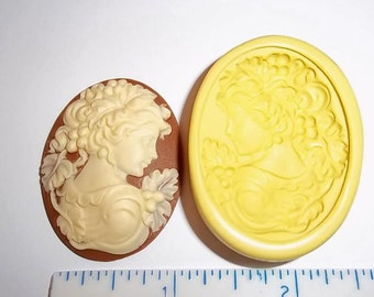 Victorian Lady Cameo Flexible Push Mold Mould For Resin Polymer Clay Chocolate Food Safe Silicone  J317