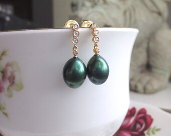 Pearl Earrings Emerald Green Freshwater Pearls with Gold Vermeil and Cubic Zirconia
