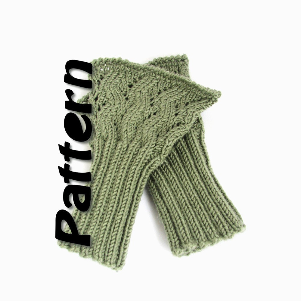 Easy Zig Zag Knitting Pattern : Lacy cuffs knit pattern zigzag handwarmers pdf fingerless
