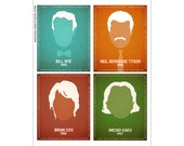 All Four in One 8x10 Print -  Silhouette Scientists Art Bill Nye, Neil deGrasse Tyson, Michio Kaku, Brian Cox Inspirational Sience Quotes