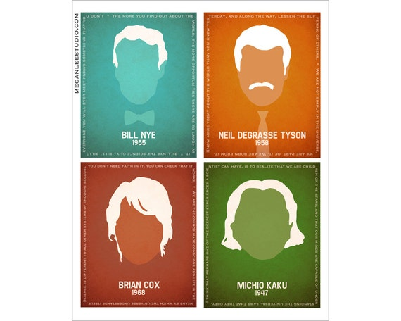 All Four in One 11x14 Print -  Silhouette Scientists Art Bill Nye, Neil deGrasse Tyson, Michio Kaku, Brian Cox Inspirational Sience Quotes