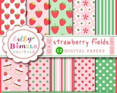Strawberry digital papers, strawberries, birthday party, scrapbook paper, green, polka dots, INSTANT DOWNLOAD