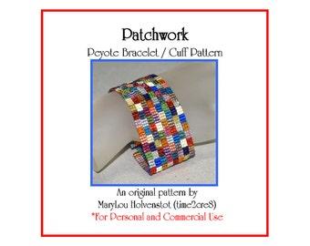 Peyote Bracelet Pattern ... PATCHWORK ... Squares . Nostalgic . Quilt Lover . Geometric . Bold . Cuff . Modern . Simple . Tutorial . 3 for 2