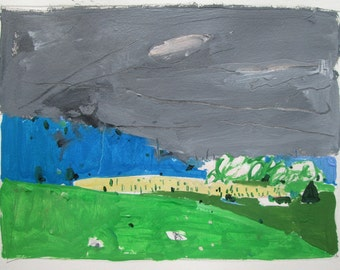 Last Planting, Original Landscape Painting on Paper, Stooshinoff