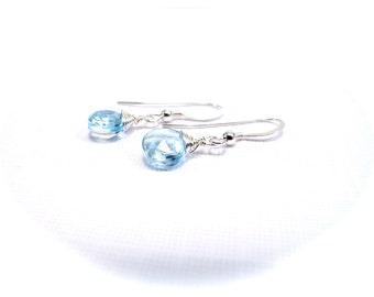 Blue Topaz sterling silver Gemstone Drop Earrings