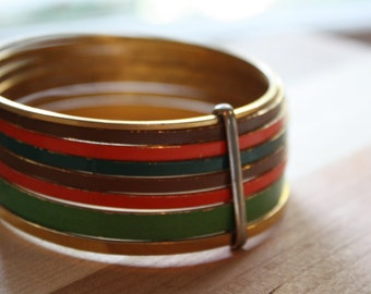 Colorful Enamel Bangle Bracelets.  Set of eight.