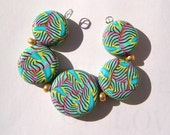 Turquoise Gold Artisan Polymer Clay Bead Set with Focal and 4 Beads