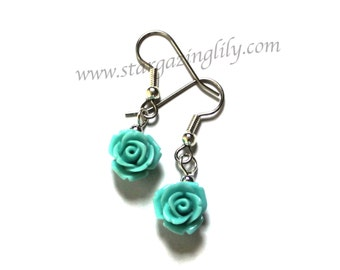 Valentine Rose earrings in aqua blue / green red or ivory. Petite small light weight, hypoallergenic surgical steel hooks Red Rose Earrings