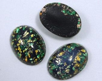 13mm x 18mm Dark Green and Gold Oval Cabochon #1026