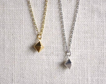 tiny pyramid stud necklace . cube necklace . prism necklace . minimalist necklace . geometric jewelry . delicate square necklace // 1PRSM