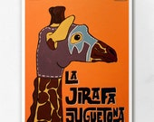 Luchamal La Jirafa Juguetona Wall Art Print