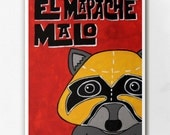 Luchamal El Mapache Malo Wall Art Print
