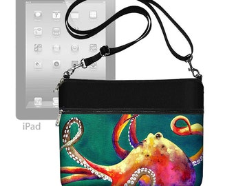 Clara Nilles Cute iPad Air 2 Case Tablet Case Octopus iPad 1 2 3 4 Purse Adjustable Strap Crossbody Bag Steampunk  Teal RTS