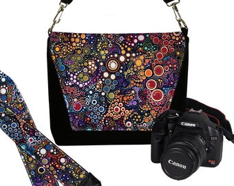 SET Dslr Camera Bag and Dslr Camera Strap, Camera Bag Slr and Camera Neck Strap, Colorful circles dots bubbles MTO