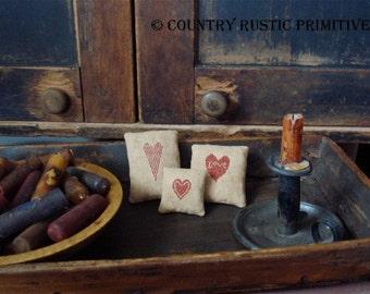 Primitive Valentine Heart Pinkeeps Cross Stitch E Pattern PDF