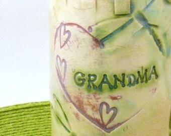 Personalized GRANDMA Mug, Handmade Mother Coffee Cup, Dragonfly Teacup,  Grandmother gift, Pottery mug, Nana Gift, Ceramics and Pottery