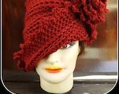 Crochet Pattern Hat, Crochet Hat Pattern, Womens Hat, Crochet Flower Pattern Crochet, LAUREN 1920s Cloche Hat Pattern