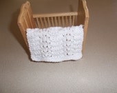 White Miniature Crib Doll House Blanket/Afghan - One Twelfth Scale - Feather & Fan