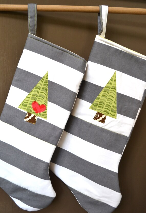 Modern christmas stockings his and hers set of two gray white stripe