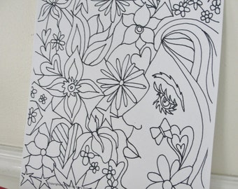 Printable Coloring Page, Flower Girl Woodland Woman with Flowers Coloring Page for Adults and Children, Downloadable PDF File