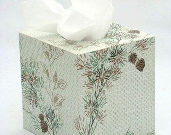Pine Cone Evergreen Needles on Pale Green texture 1950s Vintage Wallpapered Tissue Box Cover