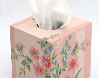 Pink Floral on Stripe 1950s Vintage Wallpapered Tissue Box Cover