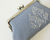 SALE kiss lock purse winter trees on gray linen