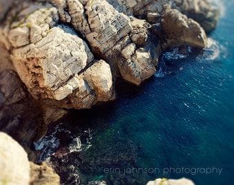 ocean photography, europe photograph. blue wall art, blue decor, rocks, travel, beige decor, water, Adriatic, The Deep Blue Sea