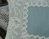 Aqua linen handmade lace appliqued pillow
