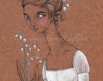 "Regency lily girl art print, ""Lily of the Valley"""