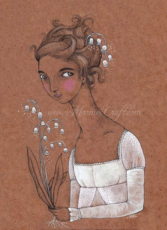 """Regency lily girl art print, """"Lily of the Valley"""""""