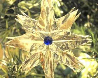 Silver Origami Crane Star Christmas Tree Ornament with Dark Sapphire Blue Rhinestone Center Holiday Decoration