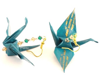 Bamboo on Teal Origami Crane Earrings with Gold Plated Hooks Jewelry