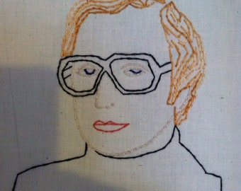 Michael Caine embroidered portrait