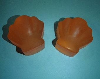 2 Orange Shell Glycerin Soaps