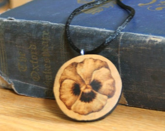 Pansy Flower Necklace gourd wood burned pyrography