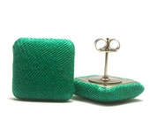 FREE SHIPPING!!! 3 Shades of Green Available - Square Covered Button Stud