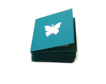 Mini Note Cards Teal White Butterfly 2 Inch Square